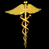 Golden caduceu. S medical symbol on a black background Royalty Free Stock Photography