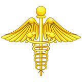 Golden caduceus Stock Image