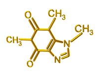 Golden caffeine molecule chemical structure Stock Photo