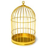 Golden cage. Empty golden cage isolated over white background Stock Photos