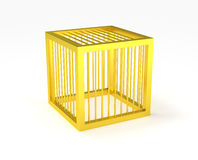 Golden cage cubic prison isolated Royalty Free Stock Image