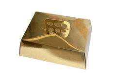 Golden cake box Royalty Free Stock Photos