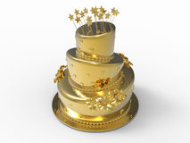 Golden cake illustration. 3D render illustration of a golden cake. The object is  on a white background with shadows Royalty Free Stock Images