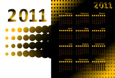 Golden Calendar 2011. Calendar for 2011 on a halftone golden background. Colors can be changed in additional format stock illustration
