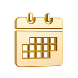 Golden calendar symbol. Isolated on white background Royalty Free Stock Photos