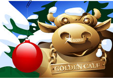 Golden calf. The golden calf in fur-tree wood in the winter Stock Photography
