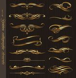 Golden calligraphic design elements Stock Images