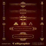 Golden calligraphic design elements and page decoration - vector set Royalty Free Stock Image