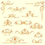 Golden calligraphic elements Stock Images