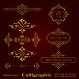 Golden calligraphic elements for design and page decoration - vector set. Vector set of golden calligraphic elements for design - lots of useful elements to royalty free illustration