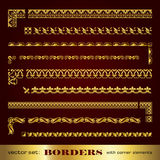 Golden calligraphic frames and borders with corner elements - vector set Royalty Free Stock Photography
