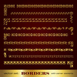 Golden calligraphic frames and borders with corner elements - vector set. Collection of golden decorative calligraphic elements for design Royalty Free Stock Photos