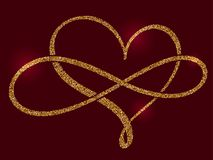 Golden calligraphic heart and a sign of infinity on a claret background. Vector illustration EPS10 Royalty Free Stock Photography