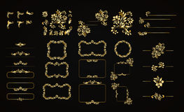 Golden calligraphic vector design elements on the black background. Gold menu and invitation border, frame,divider,page Stock Photos