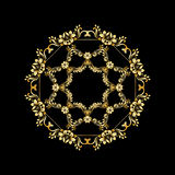Golden calligraphic vector design elements on the black background. Gold menu and invitation border, round frame,divider Stock Photography