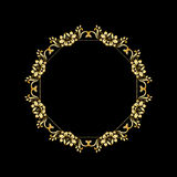 Golden calligraphic vector design elements on the black background. Gold menu and invitation border, round frame,divider Royalty Free Stock Images