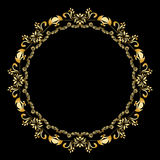Golden calligraphic vector design elements on the black background. Gold menu and invitation border, round frame,divider Royalty Free Stock Photography