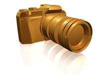 Golden camera isolated Royalty Free Stock Photo