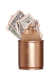 Golden can with dollars Stock Photography