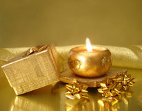 Golden candle Royalty Free Stock Photos