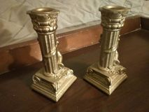 Golden Candle holders stock photography