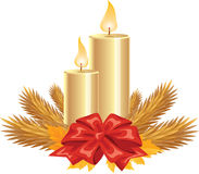 Golden Candles. Illustration of Golden Candles with autumn leaves and Christmas tree leaves and red ribbon bow isolated on white Stock Images