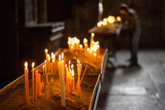 Golden candles Stock Photography