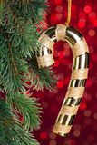 Golden candy cane Royalty Free Stock Photography