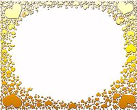 Golden candy hearts frame Stock Images