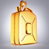 Golden canister  on grey  background. Stock Photos