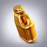 Golden canister  on grey  background. Royalty Free Stock Photography