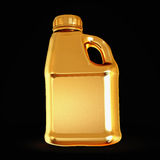 Golden canister isolated on black background. Royalty Free Stock Photo