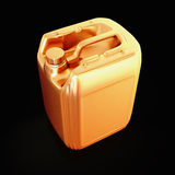 Golden canister isolated on black background. Royalty Free Stock Image