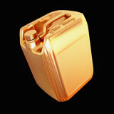 Golden canister isolated on black background. Stock Image