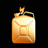 Golden canister isolated on black background. Royalty Free Stock Images