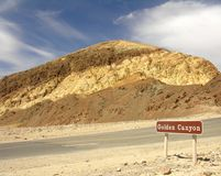 Golden Canyon. The Golden Canyon in the Death Valley Notional Park Stock Photo