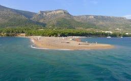 Golden cape beach. (Zlatni rat) view from the sea, island of Brac, Croatia, Europe Stock Photography