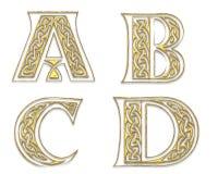 Golden Capital Letters 1. Four ornamental Capital Letters in golden metallic Design royalty free illustration