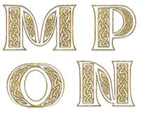 Golden Capital Letters 4 Stock Photography