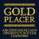 Golden capital letters and numbers encrusted small glittering fragments. Vintage curly font. Isolated english alphabet. With text Gold Placer Royalty Free Stock Photo