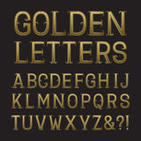 Golden capital letters with tendrils. Luxury font for rich desig Stock Photos