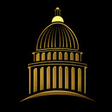 Golden Capitol building logo Royalty Free Stock Images