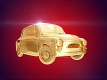 Golden car. 3D rendering Royalty Free Stock Photo