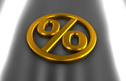 Golden car percentage. Golden percentage sign, like car sign, car discount Stock Photo