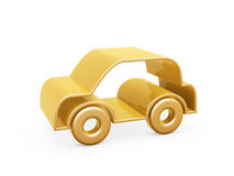 Golden car symbol. Golden racing car symbol on white background Royalty Free Stock Photo