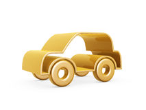Golden car symbol. Golden racing car symbol on white background Royalty Free Stock Image