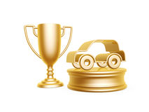 Golden car symbol and trophy cup Royalty Free Stock Photos