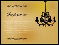 Golden card. With antique chandelier Stock Images