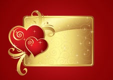 Golden card. With Two Hearts Royalty Free Stock Photo