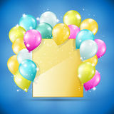 Golden card with balloons Stock Image